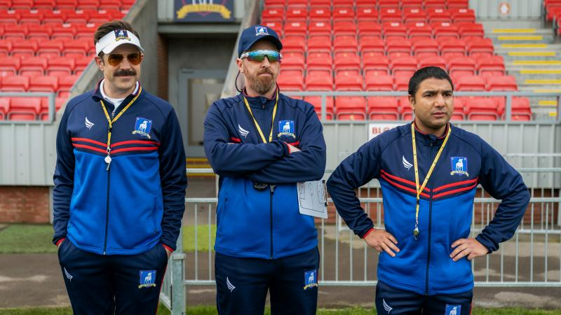 Jason Sudeikis, Brendan Hunt and Nick Mohammed in Ted Lasso.