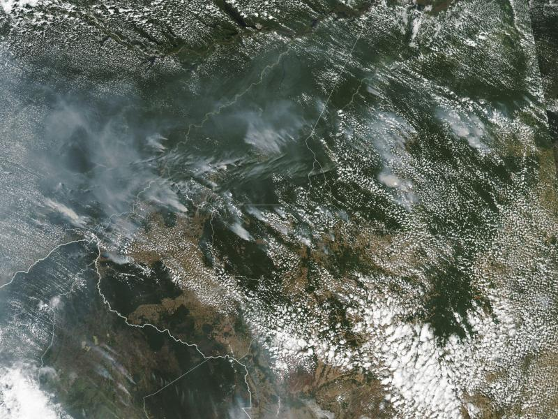 Several of the fires burning in the Amazon rainforest can be seen even from space, as evidenced by this satellite image provided by NASA this month. Brazil's National Institute for Space Research said the country has seen a record number of wildfires this