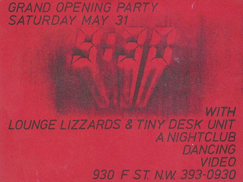 Opening Night 9:30 Club Flyer (misspelling Lounge Lizards)