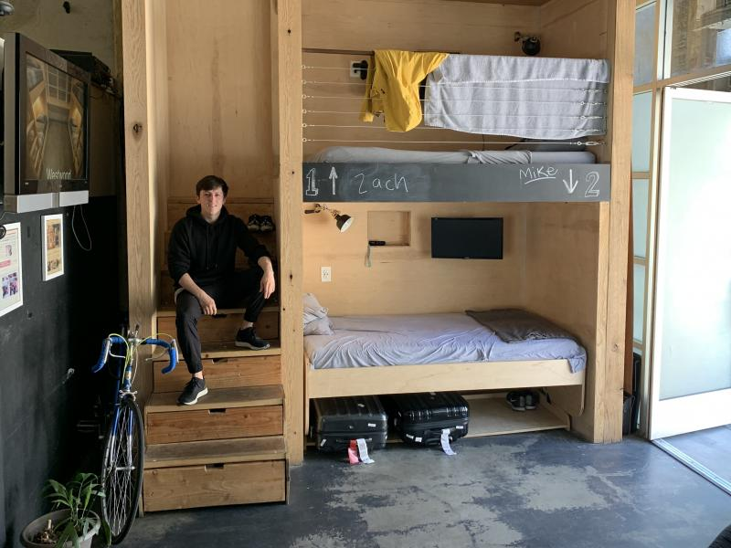 """Steven T. Johnson rents a bed at the PodShare in Hollywood, Calif. """"When you don't own things, you don't have to keep track of them,"""" he says. """"You just show up."""""""