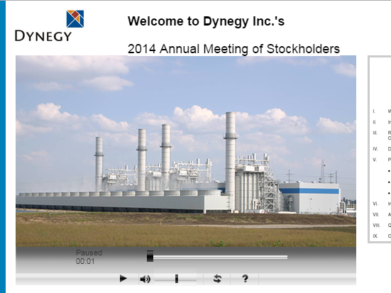 Dynegy is one of a growing number of companies to hold meetings online.