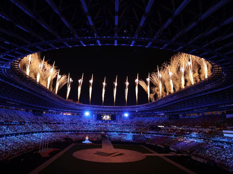 The Tokyo 2020 Olympics Closing Ceremony showcases fireworks during the closing ceremony.