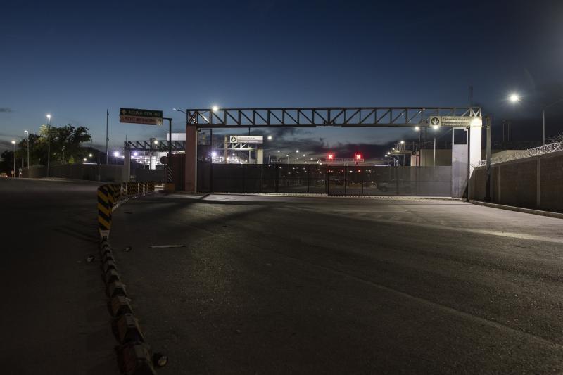A view of the border bridge in Ciudad Acuna, Mexico, Friday evening, Sept. 24, 2021, across the Rio Grande river from Del Rio, Texas.