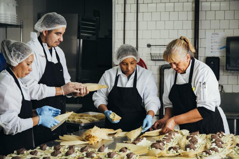 From left: Gloria Amaya, José Amaya, Silvia Gómez, and Alicia Villanueva, the founder of Tamales Los Mayas. A graduate of La Cocina's program for food entrepreneurs, Villanueva now provides catering to scores of Bay Area companies each month, and her ta
