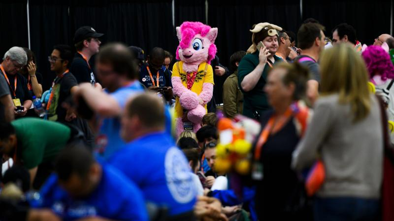 Fans wait in line for the opening ceremony at BronyCon 2019.
