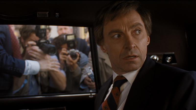 Hugh Jackman, and wig, play Gary Hart in Jason Reitman's The Front Runner.