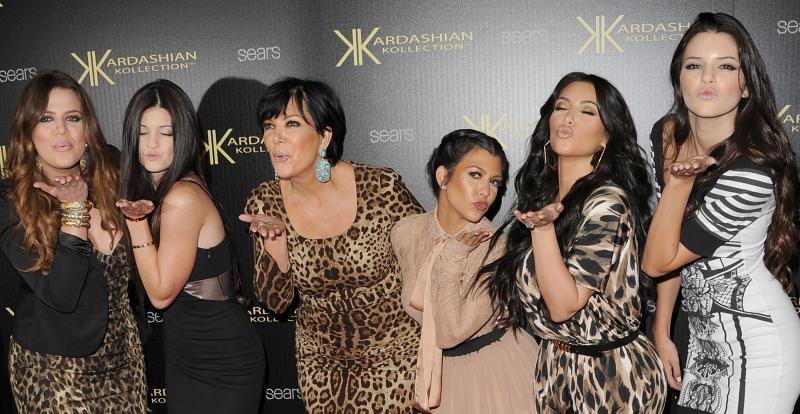 Khloe Kardashian, Kylie Jenner, Kris Kardashian, Kourtney Kardashian, Kim Kardashian, and Kendall Jenner in Hollywood at the Kardashian Kollection Launch Party in 2011.