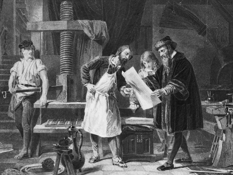 An illustration depicting Johannes Gutenberg taking the first proof off his printing press.