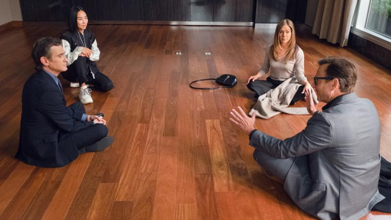 Cory (Billy Crudup), Stella (Greta Lee), Alex (Jennifer Aniston) and Doug (Will Arnett) do a little contract negotiation.