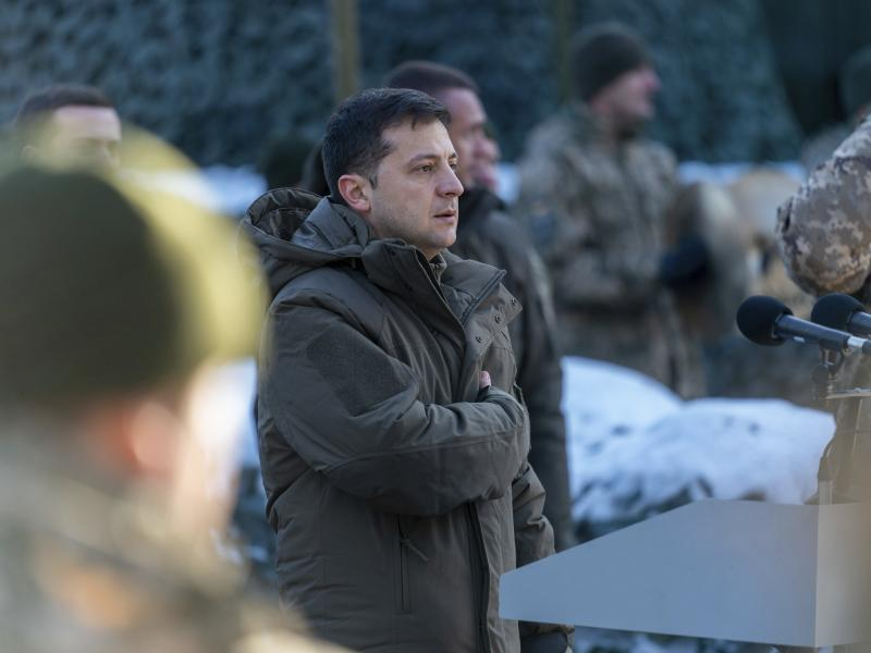 Ukrainian President Volodymyr Zelenskiy visits a military unit in Ukraine's Donetsk region on Friday.