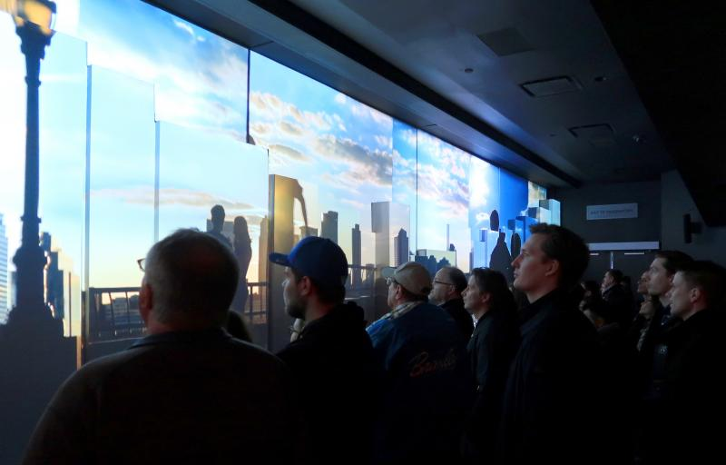 At One World Trade Center in 2017, visitors watch a movie at the New York City building's observatory. Now there's a new feature: A scent meant to complement the multimedia experience.