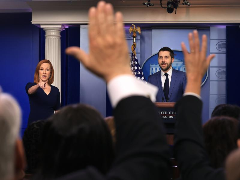 White House press secretary Jen Psaki and Brian Deese, director of the National Economic Council, take questions from reporters on Friday.