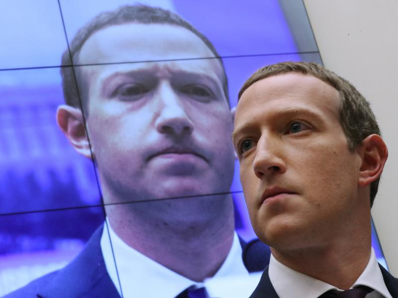 Facebook CEO Mark Zuckerberg testifies before the House Financial Services Committee in 2019. His company has been hit with twin lawsuits alleging it abused its power in order to crush rivals.