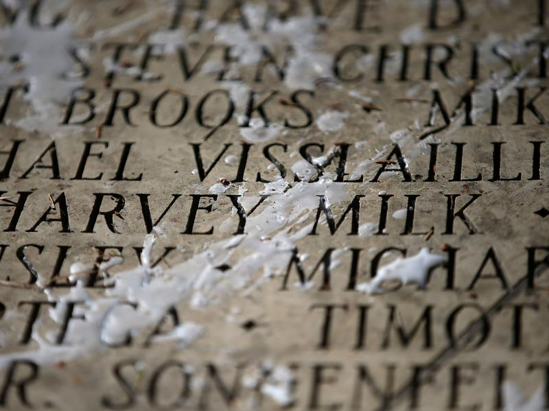 Harvey Milk's name is seen among the engraved names of AIDS victims during a World AIDS Day commemoration event at the National AIDS Memorial Grove on Dec.1, 2015 in San Francisco. More than 700,000 people have died from AIDS in the U.S.