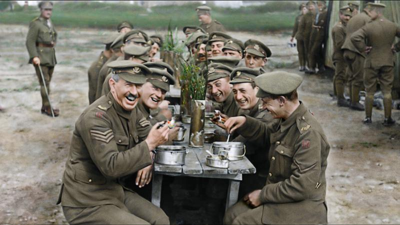 Peter Jackson restores archival footage of British soldiers enjoying a meal in the documentary They Shall Not Grow Old.