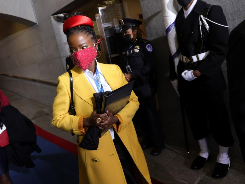 Former National Youth Poet Laureate Amanda Gorman arrives at the inauguration of US President-elect Joe Biden on the West Front of the US Capitol on Jan. 20 in Washington, D.C. Gorman says she was tailed Friday night by a security guard who said she looke