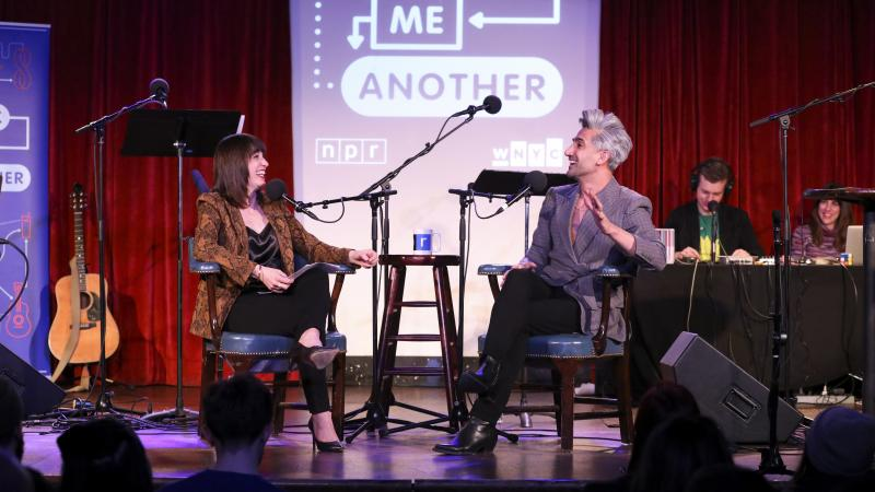 Tan France plays a game with Ophira Eisenberg on Ask Me Another at the Bell House in Brooklyn, New York.