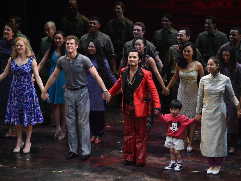 """The cast of """"Miss Saigon"""" takes part in the curtain call on opening night at the Broadway Theatre on March 23, 2017 in New York City."""