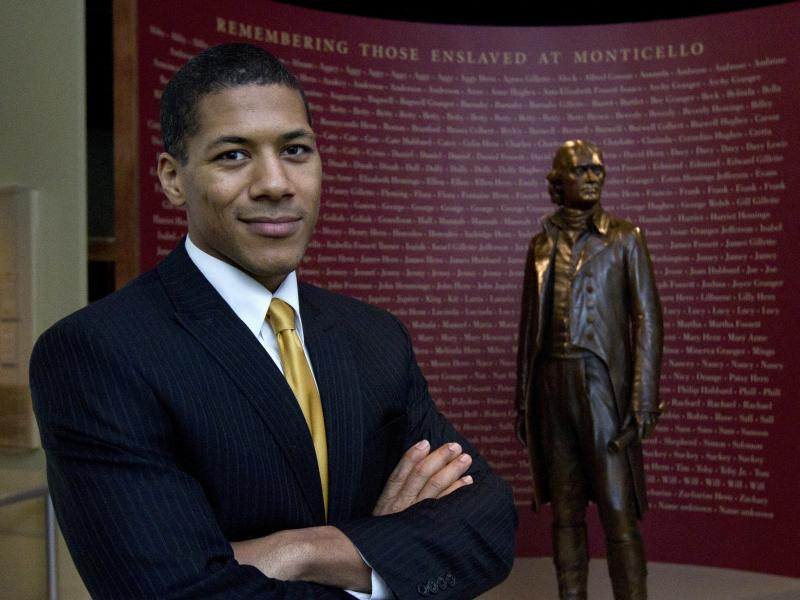 Shannon LaNier poses at the Smithsonian's National Museum of American History in Washington, D.C. in 2012. LaNier is a descendant of Thomas Jefferson and Sally Hemings.