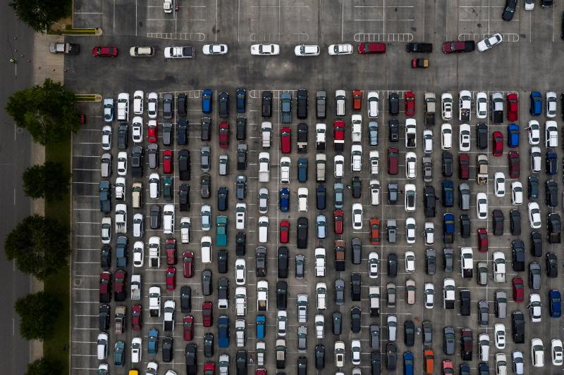 As job losses soar across the country, more people are seeking food assistance. A sea of cars lined up Friday for groceries from the San Antonio Food Bank in Texas.