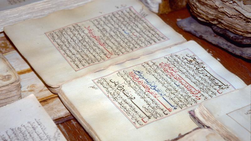Handout picture dated 1997 and released in 2012 by the UN shows ancient manuscripts displayed at the library in the city of Timbuktu. Al-Qaeda has destroyed ancient texts it considers idolatrous.