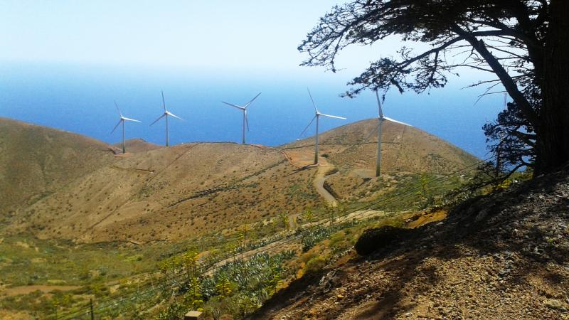 Five industrial wind turbines form part of the Gorona del Viento power plant on the island of El Hierro. By the end of this year, the power plant is set to generate 100 percent of the energy El Hierro needs, making it the world's first energy-independent