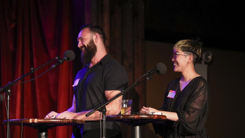Contestants Till Manthey and Monica Thieu appear on Ask Me Another at the Bell House in Brooklyn, New York.