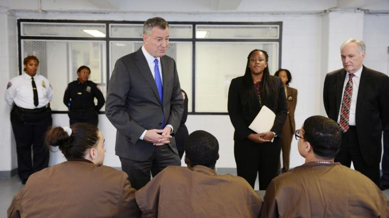 New York Mayor Bill de Blasio tours and meets with youth Dec. 17 at Second Chance Housing on Rikers Island in New York City. Second Chance Housing is an alternative for incarcerated adolescents, instead of punitive segregation, also known as solitary conf