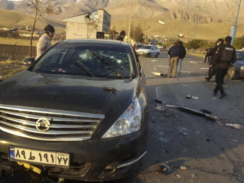 This photo released by the semiofficial Fars News Agency shows the scene where Mohsen Fakhrizadeh was reportedly killed in Absard, a small city just east of Tehran, Iran, on Friday. Fakhrizadeh, an Iranian scientist that Israel alleged led the Islamic Rep