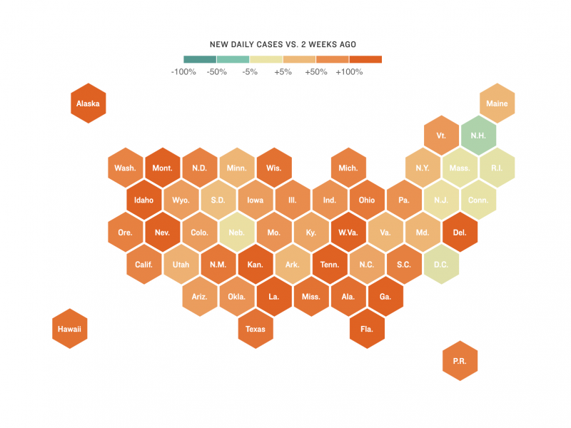 Map showing change in U.S. COVID-19 cases (as of July 8)
