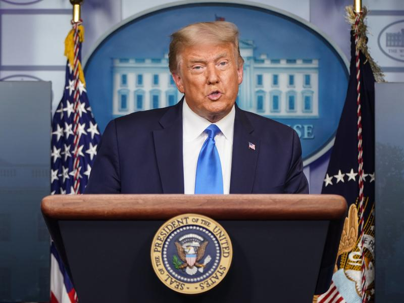 President Trump addresses reporters during a Wednesday news conference.