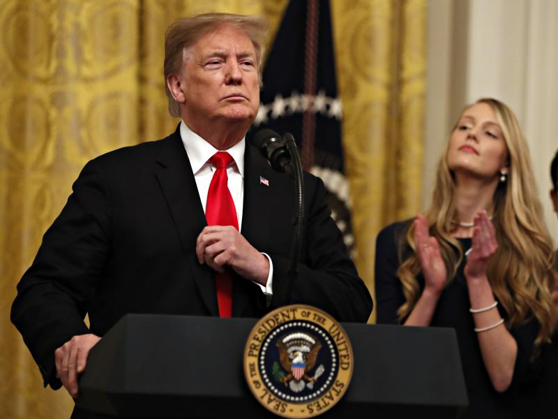 President Trump speaks before signing an executive order Thursday requiring colleges to certify that their policies support free speech as a condition of receiving federal research grants.