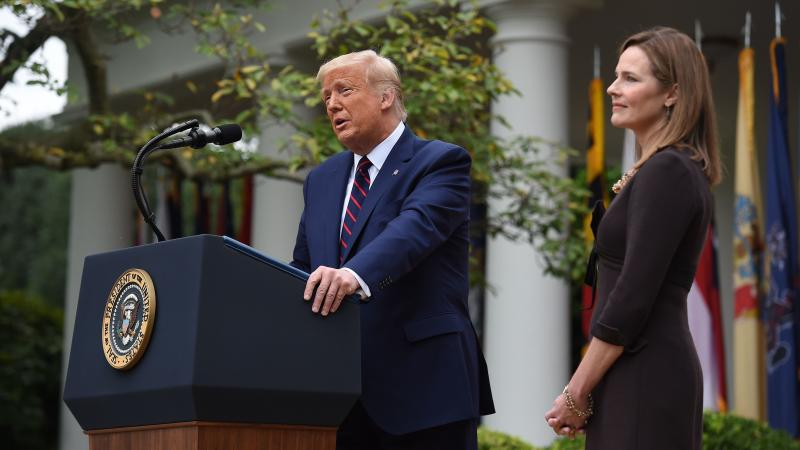President Trump announces his Supreme Court nominee, Judge Amy Coney Barrett, in the Rose Garden of the White House on Saturday.