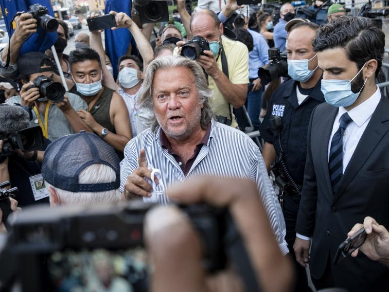 Steve Bannon leaves federal court on Aug. 20 after pleading not guilty to charges he defrauded donors to an online fundraising scheme to build a southern border wall.