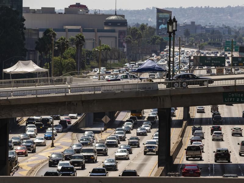 A view over the Harbor Freeway in Los Angeles on Tuesday. President Trump says his administration will revoke a waiver that allows California to set its own vehicle emissions standards.