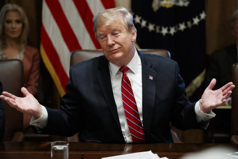 """President Trump said he is not """"happy"""" with a compromise budget deal being negotiated on Capitol Hill but said he doesn't think there will be another shutdown."""