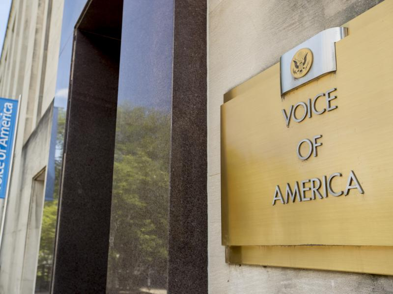 The Voice of America building, shown Monday, in Washington, D.C. VOA has increasingly been a target of the Trump administration.