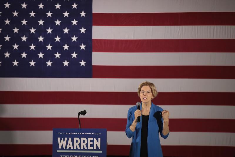 Sen. Elizabeth Warren, D-Mass., speaks at a campaign rally at the University of Iowa on Sunday.