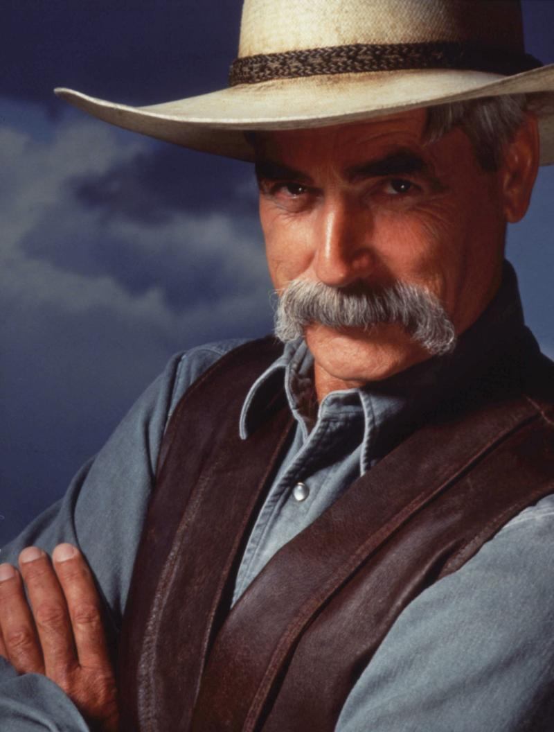 "Sam Elliott played The Stranger in the Coen brothers film The Big Lebowski. ""That was great fun,"" he says. ""The Coen brothers are such brilliant guys."""