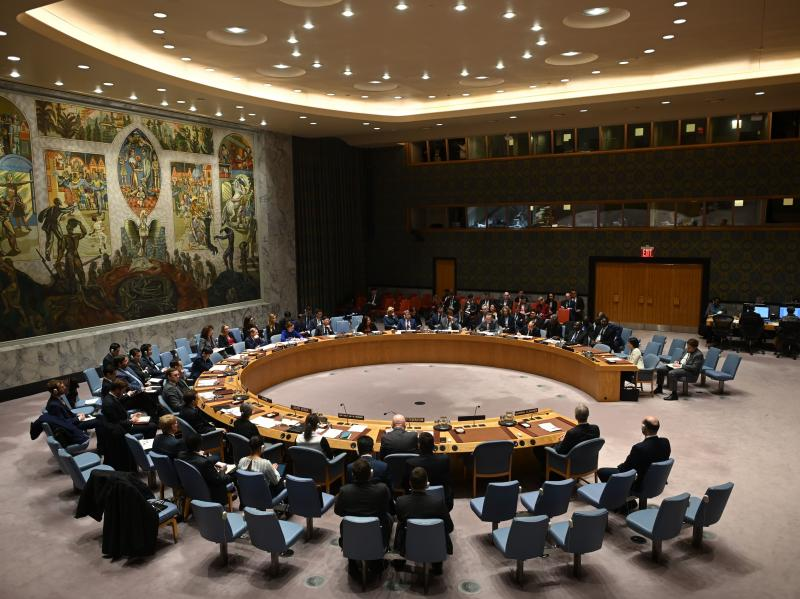 On Wednesday, the U.N. Security Council approved a 90-day cease-fire in global conflict zones due to the COVID-19 pandemic. The Security Council is seen here in February at U.N. headquarters in New York City.