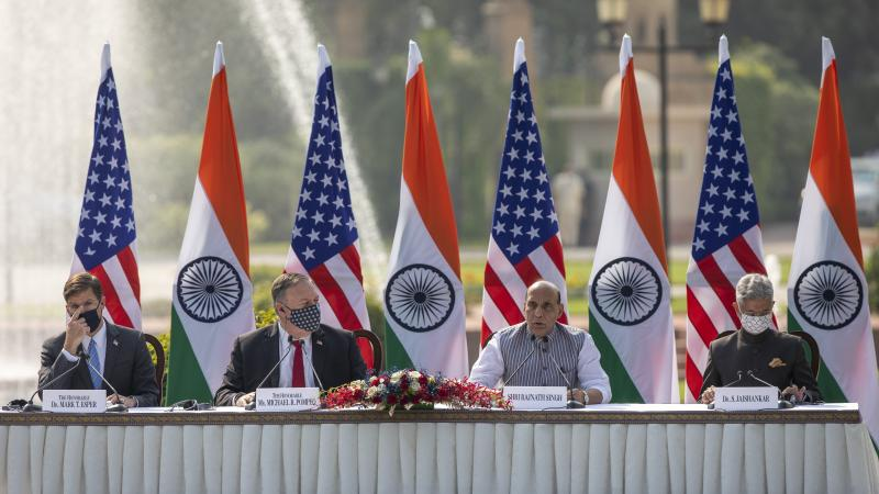 U.S. Secretary of Defense Mark Esper (from left), U.S. Secretary of State Mike Pompeo, Indian Defense Minister Rajnath Singh and Foreign Minister Subrahmanyam Jaishankar address a joint press conference on Tuesday at Hyderabad House in New Delhi.