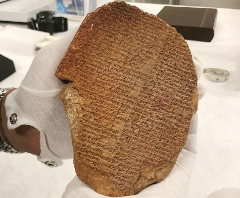 """Hobby Lobby bought the Gilgamesh Dream Tablet for more than $1.6 million in 2014. """"This rare tablet was pillaged from Iraq and years later sold at a major auction house, with a questionable and unsupported provenance,"""" Peter C. Fitzhugh, special agent in"""