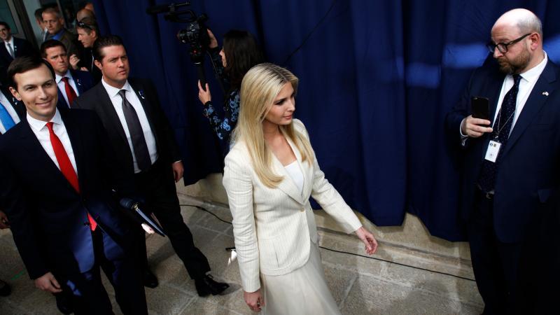 Ivanka Trump and her husband, Jared Kushner, both senior White House advisers, arrive for the inauguration of the U.S. Embassy in Jerusalem on Monday.