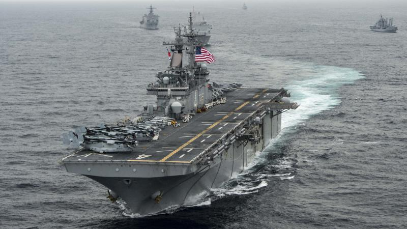 The amphibious assault ship USS Boxer (LHD 4), seen here in a 2016 U.S. Navy photo, took  down an Iranian drone over the Strait of Hormuz on Thursday, President Trump said.