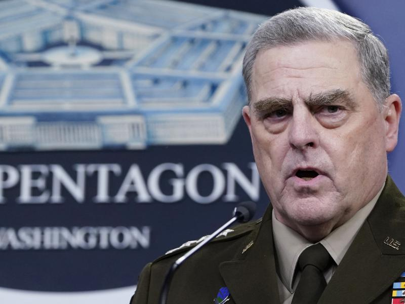 Chairman of the Joint Chiefs of Staff Gen. Mark Milley speaks during a briefing with Secretary of Defense Lloyd Austin in September at the Pentagon in Washington. The top U.S. military officer met with his Russian counterpart Wednesday Sept. 22, 2021 in H