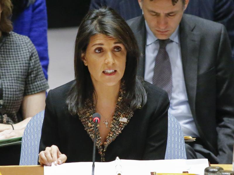 """U.S. Ambassador to the U.N. Nikki Haley speaks during a Security Council meeting on Monday. The Council voted on a resolution that expressed """"deep regret at recent decisions concerning the status of Jerusalem,"""" without mentioning the U.S. by name."""