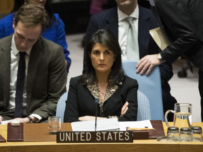 """U.S. Ambassador to the United Nations Nikki Haley warned that the U.S. """"will take note of each and every vote"""" on a resolution on the decision to move the U.S. Embassy to Jerusalem."""