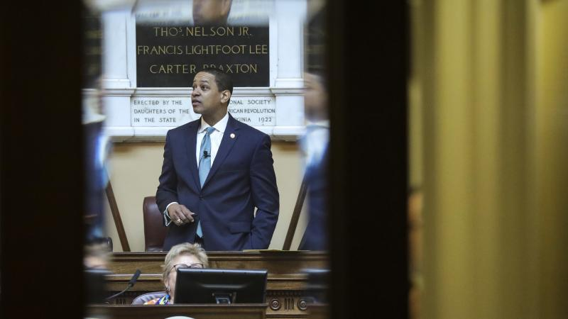 Virginia Lt. Gov. Justin Fairfax presides over the state Senate at the Capitol on Thursday. One day later, a second woman came forward with sexual assault allegations against the politician.