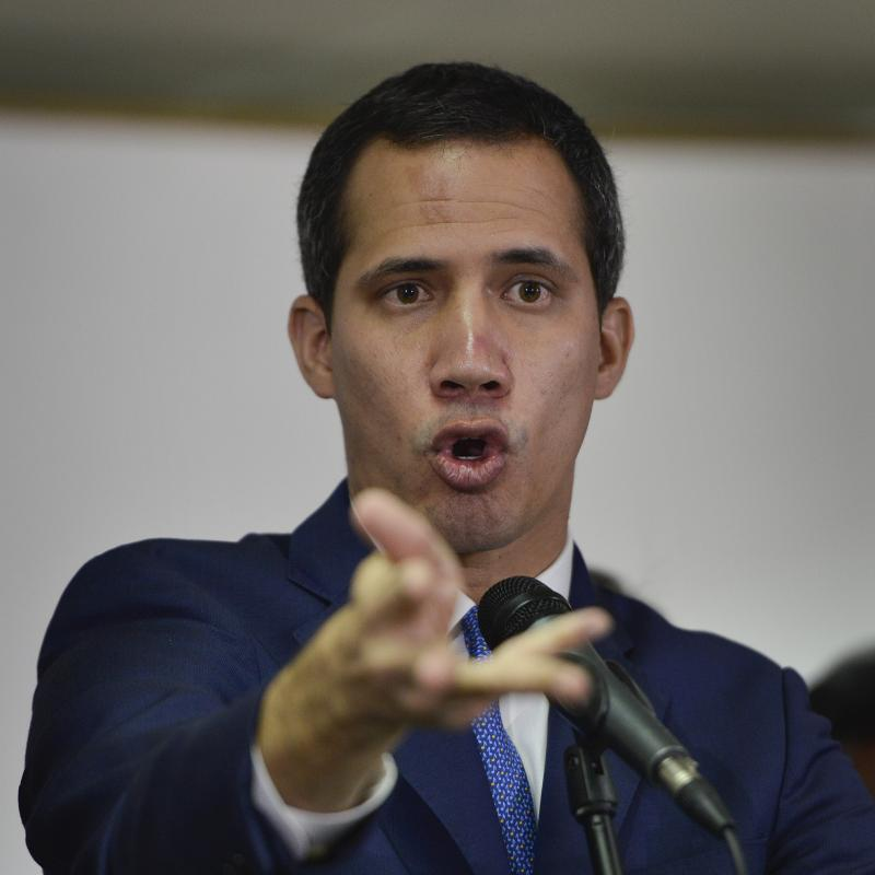 Opposition leader Juan Guaidó gives a news conference in Caracas, on Monday.