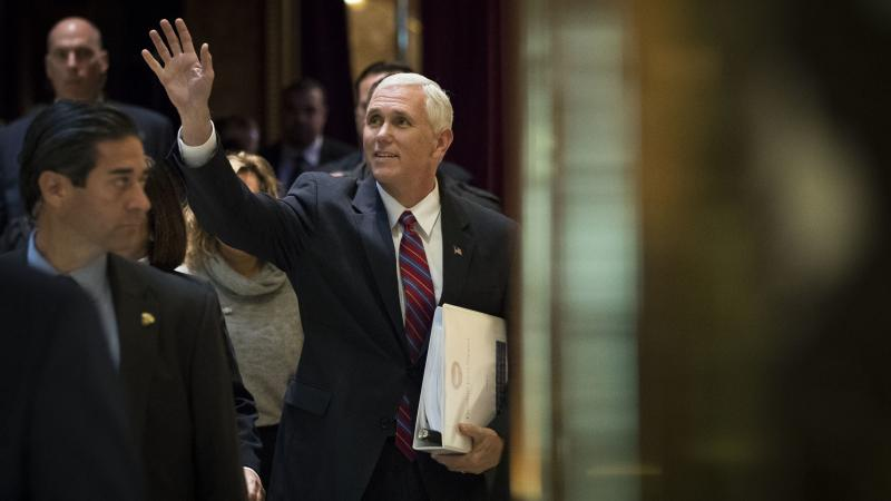 Vice President-elect Mike Pence arrives at Trump Tower on Tuesday to meet with President-elect Donald Trump about choosing key members of their future administration.